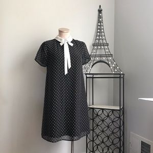 CECE black and white polka dots collar dress